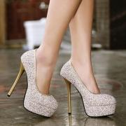 Sexy Super High-heeled Round Toe Platform Sequins Pumps