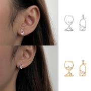 Creative Style Rhinestone Inlaid Wine Glass Shaped Asymmetric Stud Earrings