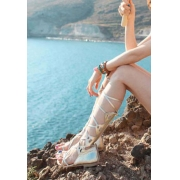 Trendsetting Gladiator Crisscross Lace High Top Boots Thong Sandals