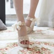 Peep Toe Wedge Bowknot Slingback Platform Sandal