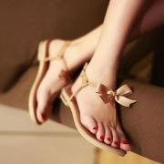 Cute Sweet Bowknot T Strap Thong Sandal Flip Flops