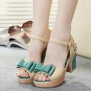 Candy Color Bowknot Flower Peep Toe Wedge Platform Sandal