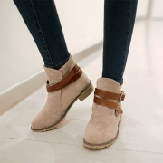 Vintage Round Toe Crossover Buckle Strap Flat Heel Ankle Boots Booties
