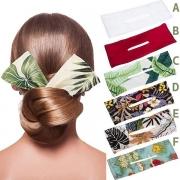 Bohemian Style Printed Bow-knot Hair Fixer Hair Band 2 Piece Set