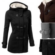 Fashion Solid Color Long Sleeve Hooded Horn Button Short Coat
