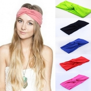 Fashion Candy Color Crossover Turban Headband