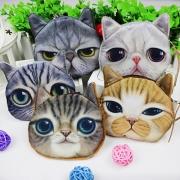 Cute 3D Cat Face Cartoon Coin Purse