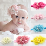 13 Colors Sweet 3D Flower Pearls Chiffon Baby Headband