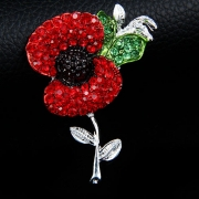 Fashion Rhinestone Poppy Flower Shaped Brooch