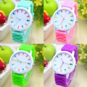 Candy Color Silicone Watch Band Round Dial Children Watch