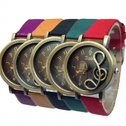 Fashion PU Leather Watch Band Hollow Out Musical Note Round Dial Quartz Watch