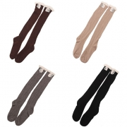 Fashion Solid Color Lace Spliced Hollow Out Knit Over The Knee Socks