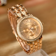 Fashion Rhinestone Alloy Watch Band Round Dial Quartz Watch