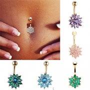 Fashion Round Zircon Body Piercing Belly Button Ring
