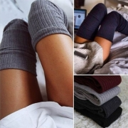 Fashion Solid Color Knit Thigh High Over The Knee Socks