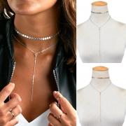 Fashion Simple Rhinestone Sequin Tassel Pendant Choker Necklace