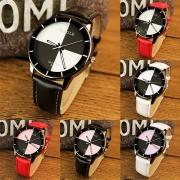 Fashion PU Leather Watchband Contrast Color Dial Quartz Watch