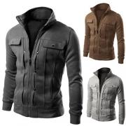 Casual Style Solid Color Long Sleeve Men Sweatshirt Coat