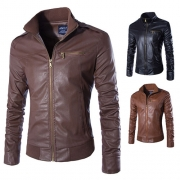 Fashion Long Sleeve Stand Collar Men's PU Leather Coat