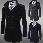 Fashion Solid Color Double-breasted Slim Fit Men's Woolen Coat