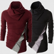 Fashion Contrast Color Long Sleeve Cowl Neck Men's Knit Tops