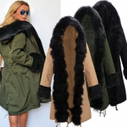 Fashion Long Sleeve Hooded Faux Fur Spliced Warm Overcoat