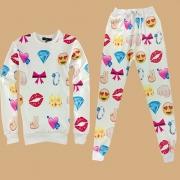 Fashion Emoji Pattern Long Sleeve Round Neck Sports Suit