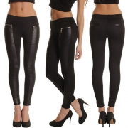 Fashion PU Leather Spliced High Waist Slim Fit Leggings