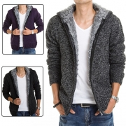 Fashion Long Sleeve Hooded Men's Warm Knit Coat