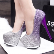 Sexy Super High-heeled Round Toe Platform Sequin Shoes Pumps