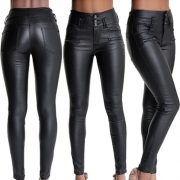 Fashion High Waist Slim Fit PU Leather Pants