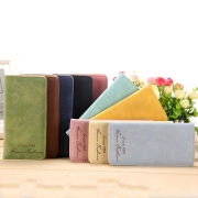 Retro Style Solid Color Long Wallet