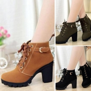 Stylish Lace-up Side Zipper High-heeled Round Toe Boots