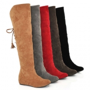 Elegant Solid Color Back Lace-up Round Toe Inner-increased The Knee Boot