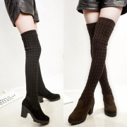 Fashion Solid Color High-heeled Sweater The Knee Boots