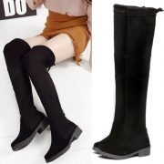 Fashion Solid Color Round Toe High-heeled Over The Knee Boots