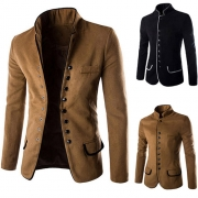 Fashion Stand Collar Long Sleeve Single-breasted Men's Woolen Chinese Tunic Suit