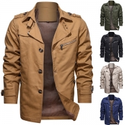 Fashion Solid Color Long Sleeve Stand Collar Single-breasted Men's Coat