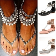 Bohemian Style Flat Heel Pearl Inlaid Thong Sandals