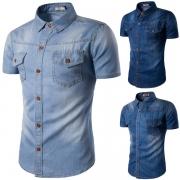 Retro Style Short Sleeve POLO Collar Single-breasted Men's Denim Shirt