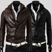Fashion Solid Color Double Layer Front Zipper Slim-Fit Men's PU Leather Jacket