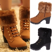 Fashion Thick High-heeled Round Toe Imitation Fur Spliced Booties(It falls small)
