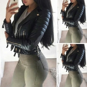 Punk Style Long Sleeve Lapel Slim Fit Zipper PU Leather Jacket