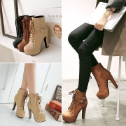 Fashion Thick High-heeled Round Toe Lace-up Martin Boots Booties