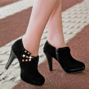 Fashion High-heeled Round Toe Rhinestone Inlaid Shoes