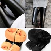Fashion High Waist Plush Lining PU Leather Pants