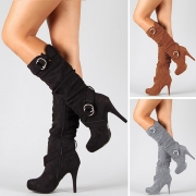 Fashion Solid Color High-heeled Round Toe Boots