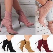 Elegant Solid Color High-heeled Pointed Toe Ankle Boots