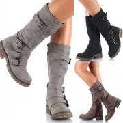 Retro Style Flat Heel Round Toe Side-zipper Martin Boots