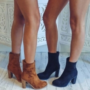 Fashion Round Toe Thick High-heeled Back-zipper Boots Booties
